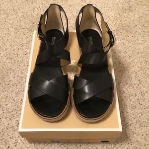 Michael Kors Black Leather Darby Espadrille Sandal